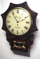 Rare Antique Drop Dial Wall Clock 8 Day Single Fusee Movement Signed J H Harvey Penzance (6 of 12)