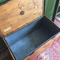 Antique Victorian Bound Campaign Chest Old Rustic Pine Wooden Storage Trunk + Full Zinc Interior + Key (10 of 10)