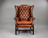 George II Style Brown Leather Hand Dyed Wingback Armchair (2 of 17)