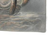 Antique Art Nouveau Marine Bronze Relief Wall Plaque Spanish Galleon Ship 1668 (3 of 21)