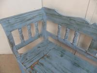 Lovely Sky Blue 3 Seater Antique Pine Kitchen / Hall Box Settle / Bench (6 of 10)