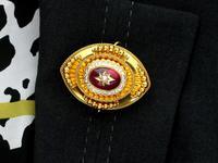 6.20ct Garnet, Pearl & Enamel, 18ct Yellow Gold Pendant / Brooch - Antique c.1880 (13 of 15)