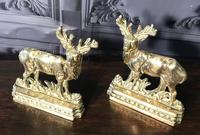 Pair of Victorian Cast Brass Stags (3 of 9)