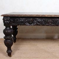 Carved Oak Desk Library Table Gothic Jacobean Large 19th Century (16 of 18)