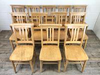 Set of Twelve Vintage Beech Chapel Chairs (2 of 15)