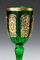 Pair of Bohemian Dark Green Glass Goblets (3 of 3)