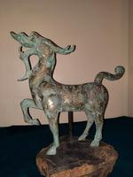 Chinese Archaistic Silver / Gold Coloured Inlaid Bronze Mythical Qilin