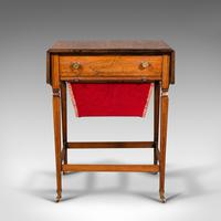 Antique Drop Leaf Sewing Table, English, Rosewood, Side, Lamp, Regency c.1820 (4 of 12)