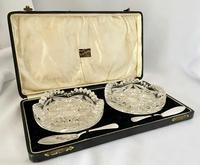 Quality Silver & Crystal Butter Set