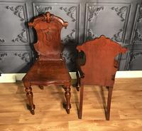 Pair of Victorian Mahogany Hall Chairs 318 (4 of 14)