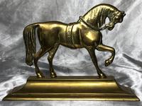 Antique English Victorian Graceful Equestrian Horse Brass Door Stop (19 of 25)