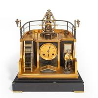 Late 19th century French gilt-brass & steel novelty 'quarterdeck' mantel clock by Guilmet, Paris (2 of 2)