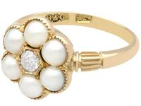 Natural Pearl & 0.20ct Diamond, 18ct Yellow Gold Cluster Ring - Antique c.1880 (3 of 9)