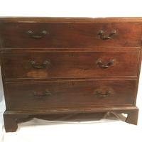 Antique Early Victorian Three Drawer Chest Stained Pine (3 of 12)