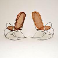 1970's Pair of Retro  Chrome & Bamboo Rocking Chairs (13 of 13)