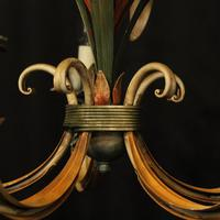 French Polychrome Toleware 5 Light Chandelier (8 of 10)