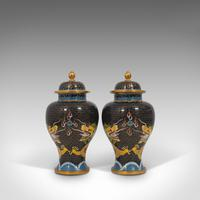 Pair of Antique Decorative Spice Jars, Chinese, Cloisonne, Baluster Urn c.1900 (2 of 12)