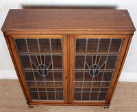 Oak Leaded Stained Glazed Bookcase Arts & Crafts Edwardian (7 of 11)
