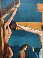 Superb 19th Century Old Master Biblical Christ Oil Portrait Painting - Gothic Oak Frame (10 of 17)