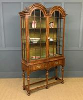 Burr Walnut Double Dome Topped Display Cabinet (11 of 18)