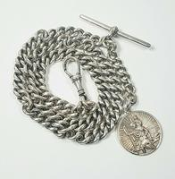 Beautiful Solid Silver Henry Allday Double Link Albert Chain & T BAR