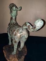 Chinese Archaistic Silver / Gold Coloured Inlaid Bronze Mythical Qilin (4 of 15)