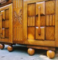 Art Deco Oak Wood Sideboard with Ball Feet (4 of 9)