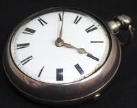Great Antique Silver Pair Case Pocket Watch Fusee Verge Escapement Key Wind Enamel Dial Johnson London (3 of 10)
