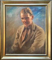Superb Original Vintage Antique Portrait Oil Painting Of A Gent In Tweed Jacket