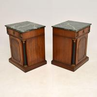 Pair of Georgian Style Marble Top Bedside Cabinets c.1930 (9 of 10)