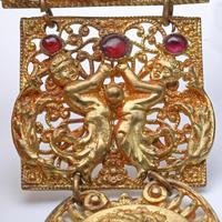 Art Deco Gold Tone & Garnet Brooch (4 of 4)