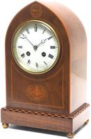 Incredible French Inlaid Lancet Mantel Clock Multi Wood Inlay 8 Day Striking Mantle Clock (4 of 10)
