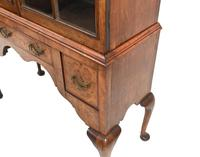 Antique Walnut Cabinet Bookcase Queen Anne Domed (5 of 11)