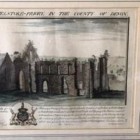 Bucks Antiquities Copper Etching Frithlestock Priory 1734 - Antique Devon Print (5 of 5)