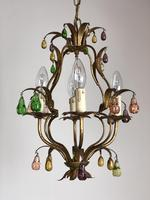 Vintage French Gilt Toleware & Murano Style Chandelier (4 of 13)