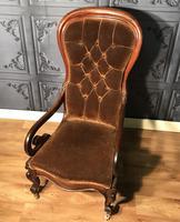 Victorian Mahogany Scroll Arm Nursing Chair