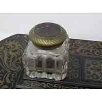19th Century Brass Inlaid Twin Inkwell Stand c.1850 (6 of 7)