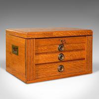 Antique Collector's Specimen Case, English, Oak, Chest, Jewellery Box, Edwardian (2 of 12)