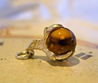 Vintage Silver Pocket Watch Chain Fob 1970s Dainty Talon or Claw Holding an Amber Ball (4 of 9)