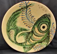 Large Spanish Art Pottery Fish Plate, Puigdemont Catalonia c.1950