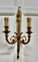 Set of French Neo Classical Large Brass Twin Wall Lights (4 of 5)