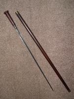 Vintage Solid Wooden Walking / Gadget Sword Stick / Cane with Brass Collar (7 of 10)