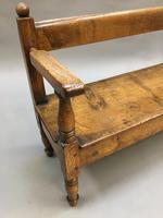 19th Century Childrens Oak Hall Bench (7 of 9)
