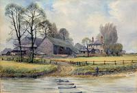 Caught One by R.Coleman 1971 A Trout Fishing Riverscape Watercolour Painting (2 of 13)