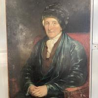 Antique Large Victorian Oil Painting Portrait of Gentleman in Smoking Jacket & Hat (3 of 10)