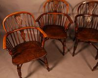 A Set of 4 Yew Tree Windsor Chairs Rockley Workshop (3 of 21)