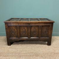 17th Century Period Oak Antique Carved Coffer