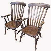 Lovely Pair of Solid Elm Farm Armchairs (5 of 5)
