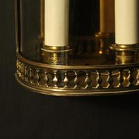 French Pair of Brass Antique Half Wall lanterns (8 of 10)