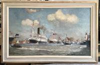 James Scrimgeour Mann Oil Painting 'Flotilla, including White Star Line on the River Mersey, Liverpool (2 of 2)